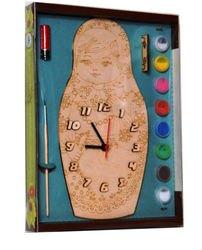 Фото Часы под роспись деревянные Матрешка с красками (ДНИ125)