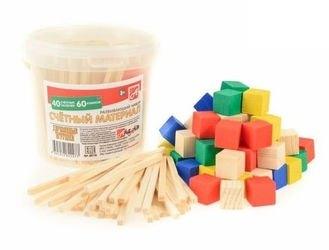 Фото Счетный материал 100 (40 палочек и 60 кубиков) в пластиковом контейнере (Д013b)