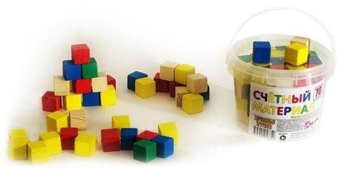 Фото Счетный материал (65 кубиков) в пластиковом контейнере с ручкой (Д013c)