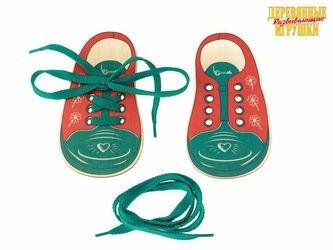 "Фото Шнуровка ""Ботинки Сердечко и Ключик"" (2 ботинка со шнурками) 15*8 см (Д425а)"