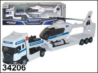 """Фото Масштабная модель  Грузовик """"Скания"""" Полиция с вертолетом 1:48 (34206/10872-06)"""