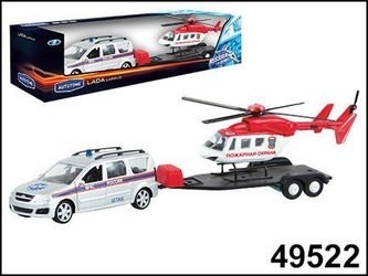 Фото Масштабная модель Лада LARGUS с вертолетом, МЧС  1:38 (49522)