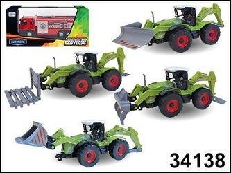 """Фото Масштабная модель Трактора """"FARM BULLDOZER"""" с навесным оборудованием, в ассортименте1:48(34138)"""