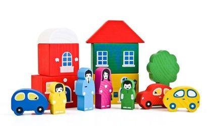Конструктор деревянный Цветной городок зеленый,  средний (14 дет.) фотография 3
