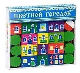 Фото Конструктор деревянный Цветной городок большой (41 дет.)