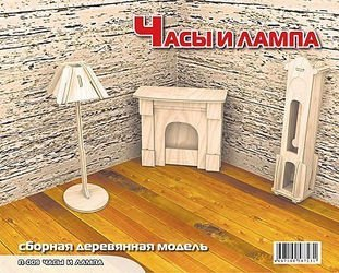 Фото Сборная деревянная модель П009 Часы и лампа (дерево)