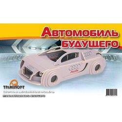 Фото Сборная деревянная модель Автомобиль будущего цветной (П139с)