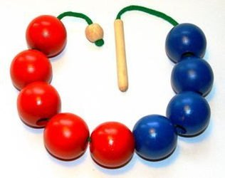 """Фото Шнуровка бусы деревянные цветные """"Счет до 10-ти"""" красно-синие (Д-500)"""