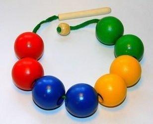 Фото Шнуровка бусы деревянные цветные 8 шаров (Д-502)