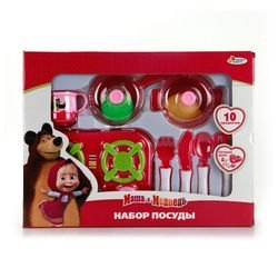 """Фото Набор игрушечной посуды """"Маша и Медведь"""" 10 предметов (B1231496-R)"""