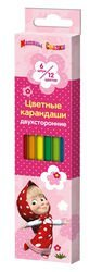 """Фото Цветные карандаши двухсторонние """"Маша и Медведь"""" 6 штук / 12 цветов (29079)"""