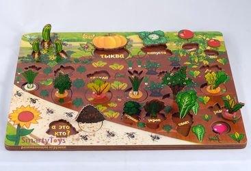 Фото Развивающая деревянная игра Овощи на грядке (7907)