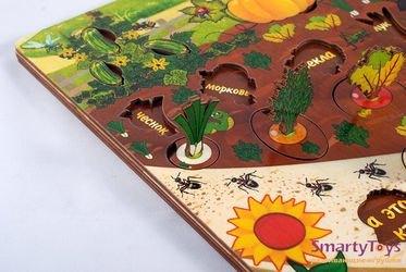 Развивающая деревянная игра Овощи на грядке (7907) фотография 8