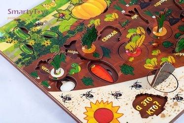 Развивающая деревянная игра Овощи на грядке (7907) фотография 9