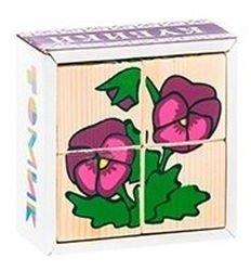 Фото Кубики деревянные Цветочки 4 эл. (3333-7)