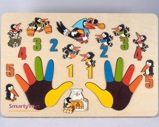 Фото Развивающая доска с вкладышами Пальчики Сорока-белобока