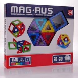 Фото Магнитный конструктор для развития интеллекта 14 элементов (5001BL)