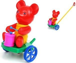 Фото Каталка на палочке Мишка с барабаном (П-0572)