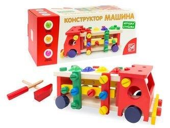 Фото Деревянная развивающая игрушкастучалка-конструктор Машинка Шарики (Д1002а)