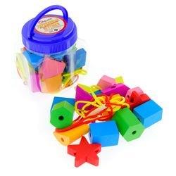 Фото Бусы шнуровка для малышей деревянные Геометрические формы 16 элементов (Д1003)