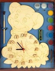 Фото Часы под роспись деревянные Собака с красками (7906)