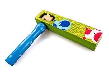 Фото Игрушка деревянная трещотка круговая зелено-синяя (76433)