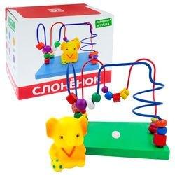 Фото Деревянный лабиринт с игрушкой Слоненок (Д1023а)