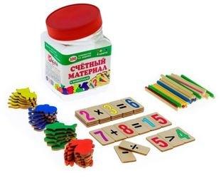 Фото Счетный материал Животные 100 элементов(цифры и знаки, палочки, фигуры) Д561а