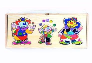 Фото Деревянный пазл с одеждой 3 клоуна (5294)