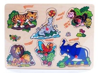 Фото Деревянная рамка-вкладыш Музыкальные картинки Дикие животные (1300)8121