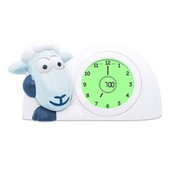 Фото Детские часы-будильник с ночником для тренировки сна Ягнёнок Сэм синий