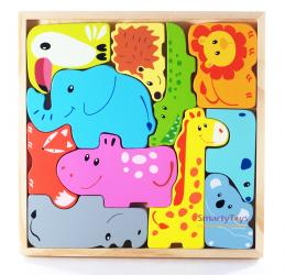 Фото Набор деревянных фигурок Животные пазл-головоломка