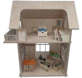 Фото Деревянный кукольный домик двухэтажный без мебели (СДМ-23)