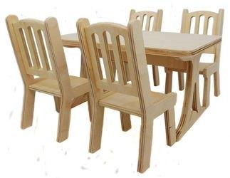Фото Набор кукольной мебели Стол и 4 стула (МК-004)