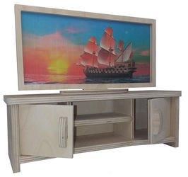 Фото Кукольная мебель Тумба с телевизором малая (МК-012)