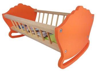 Фото Кукольная Кровать-качалка деревянная 32 см. (крашенная) (МК-022)
