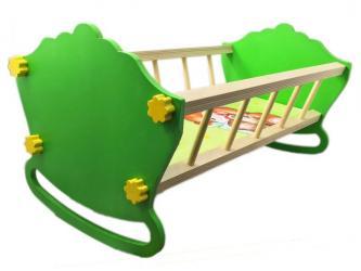 Фото Кукольная Кровать-качалка деревянная50 см (крашенная) (МК-023)