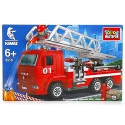Фото Конструктор Камаз пожарная машина с лестницей и фигуркой (3510-R)