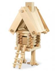Фото Деревянный конструктор из бревнышек Избушка на курьих ножках