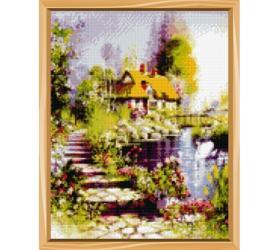 Фото Алмазная мозаика полная выкладка Усадьба у озера 30х40 32 цвета(A0352)