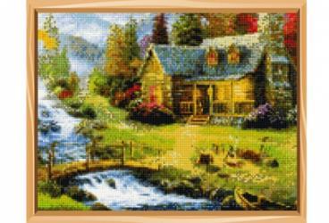 Фото Алмазная мозаика полная выкладка Домик у реки 30х40 35 цветов(Арт. B0975)
