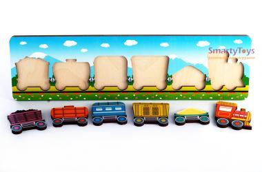 Рамка-вкладыш деревянная Паровозик с вагончиками (7969) фотография 2