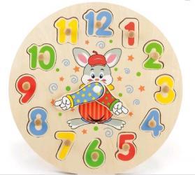 Фото Детские деревянные часы-пазл (56171)