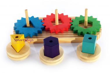 Деревянная развивающая игрушка Зубчатые колеса (Д398) фотография 3