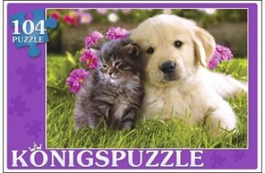 Фото Пазл Котенок и щенок Konigspuzzle, 104 элемента (ПК104-5808)