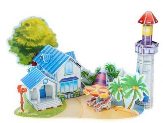 Фото 3D пазл из пенокартона Романтический пляж 39 деталей (589-J)