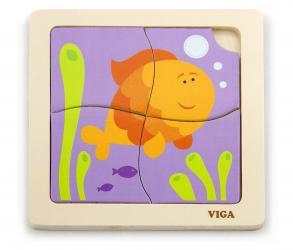 Фото Деревянный пазл для малышейРыбка 4 дет (50144)