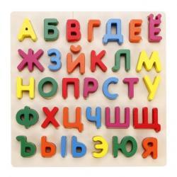 Фото Деревянная рамка с вкладышами Алфавит (76652)