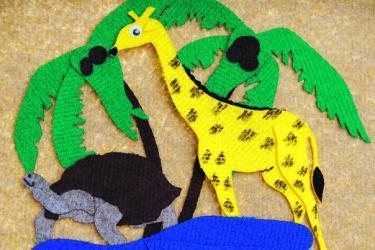 Набор фигурок из ковролина Животные жарких стран с полем (LIP1013) фотография 3