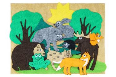 Фото Набор фигурок из ковролина Дикие животные с игровым полем мини (LIP1117)